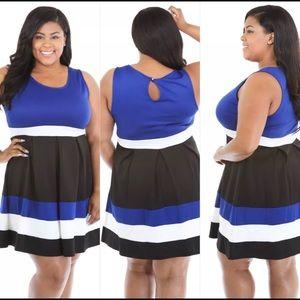 Dresses & Skirts - Plus Size Black Blue & White Striped Flare Dress
